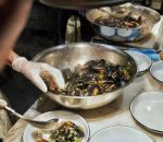 Mussels with Rag Pasta and Pesto