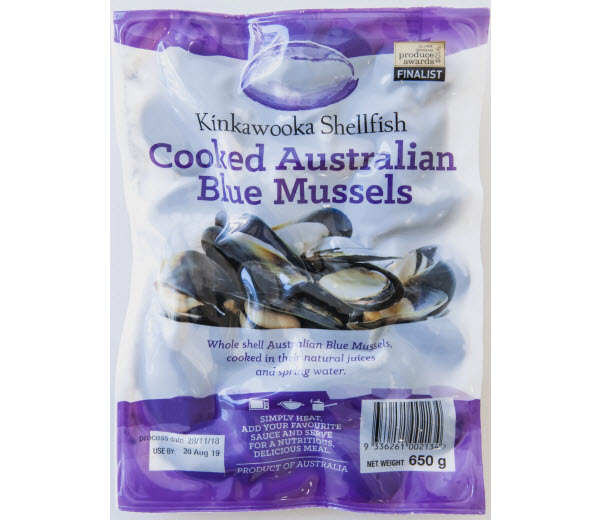 Sealed pack of Cooked Australian Mussels