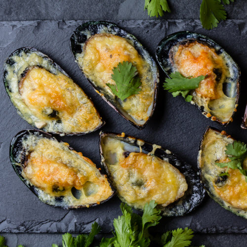 Baked Mussels Using Kinkawooka Pot Ready Mussels