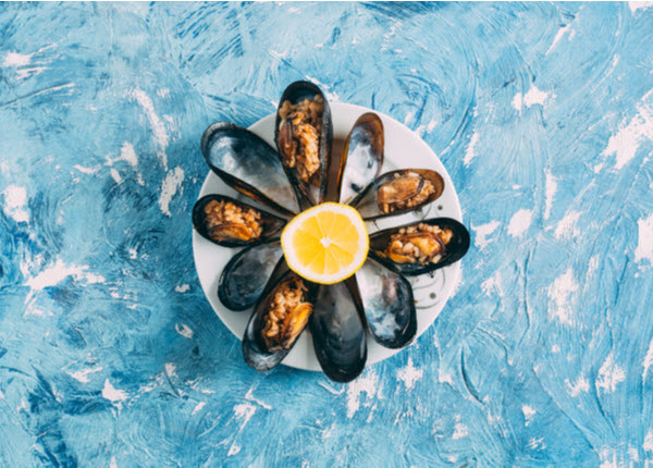 Top View Stuffed Mussels