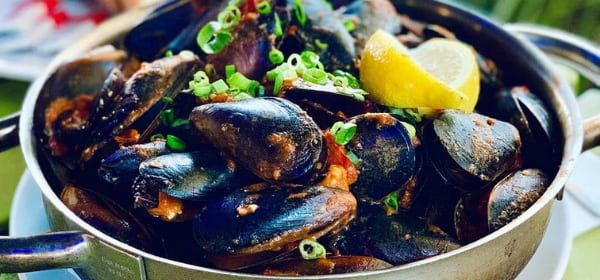 Freshly cooked mussels on a pot