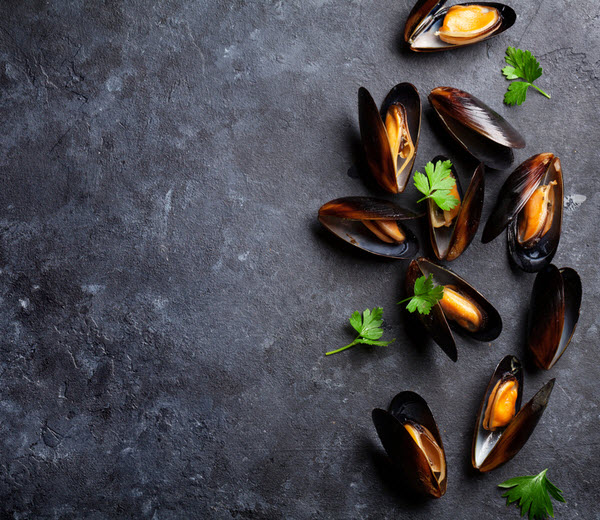 Mussels on stone table