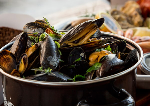 Delicious mussels on a pot