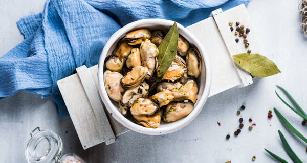 Marinated Mussels on a bowl