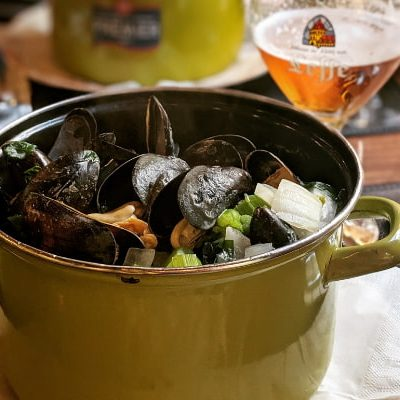 A pot of steamed mussels a Belgian icon
