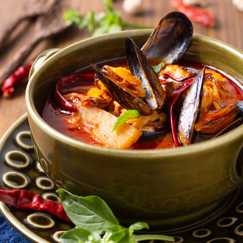 Thai Red Curry with Kinkawooka Mussels